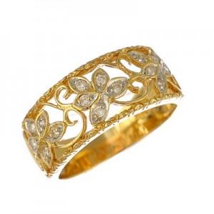 リング K18イエローゴールド ダイヤモンド リーフサイズ:12.5号